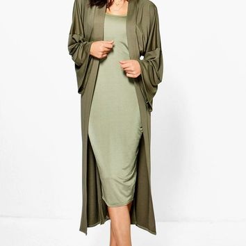 Sarah Strappy Midi Dress and Oversized Duster Co-Ord | Boohoo