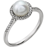 Sterling Silver Pearl & .01 CTW Diamond Ring