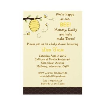 Bumble Bee Honeycomb Baby Shower Invitations from Zazzle.com