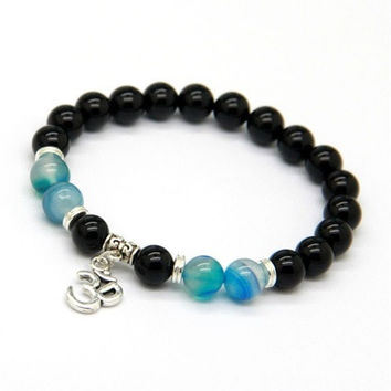 New Design Beaded Men's Women Wrap Jewelry 8mm Natural Black Onyx Stone Beads OM Yoga Bracelets Party Gift [8069648391]