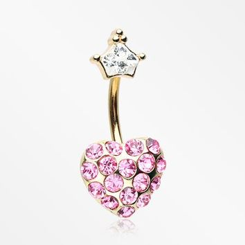 Golden Princess Crown Heart Sparkle Belly Button Ring