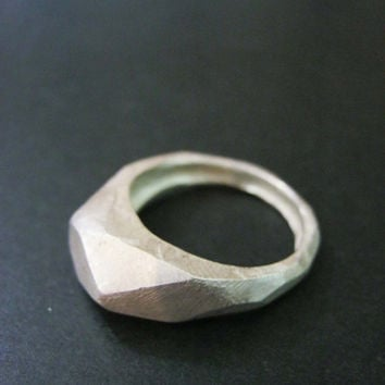 Faceted silver ring, rustic finish, black friday, can be an engagement or wedding ring, hand made, geometry, baladi, sterling silver, raw