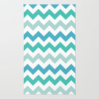 Shades Of Blue Chevron  Area & Throw Rug by KCavender Designs