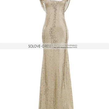 Solovedress 2017 Cap Sleeves Champagne Mermaid Sequin Evening Dress 2017 Real Formal Evening Gown vestido de festa longo E006