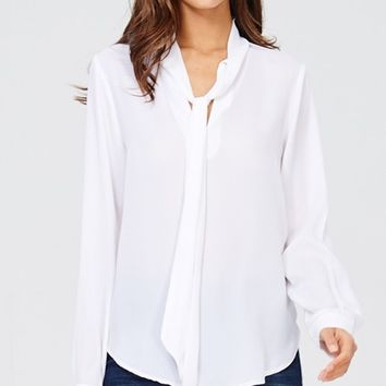 Ready For Business Long Sleeve Tie Neck Chiffon Blouse - 2 Colors Available (Pre-Order)