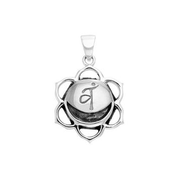 Silver Plated Svadhisthana Sacral White Bronze Second Chakra Healing Cleansing Inner Peace And Yoga Spirituality Positive energy channels Symbol Buddhism Buddha Spiritual Body Pendant Necklace With A 18'' Silver-Finished Brass Cable Chain