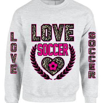 Love Soccer Leopard womens Sweatshirts