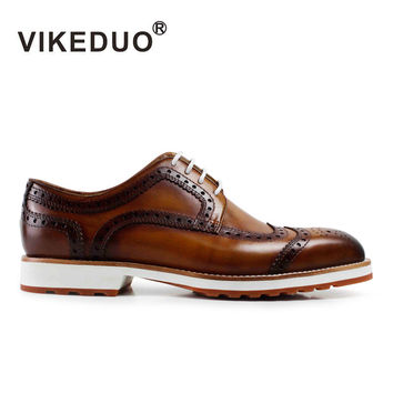 Vintage Men handmade Derby Shoes Full Real  leather Hand Painted Shoes Exclusive Design Bespoke Summer Footwear