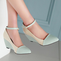 Meotina Shoes Women Pumps Autumn Pointed Toe Ankle Strap High Heels Wedges Shoes Blue Ladies Shoes Big Size 40 41