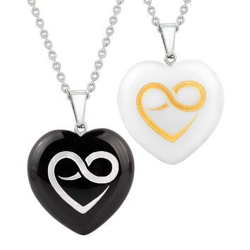 Heart Amulets Infinity Eternity Love Powers Couples Best Friends Agate White Quartz Necklaces