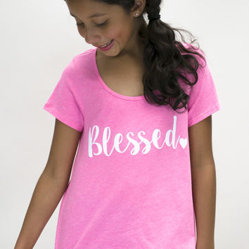 Blessed Hi-Low Short Sleeve Shirt | Girls