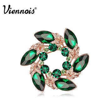 Viennois Fashion Jewelry Luxury Rose Gold Plated Feather Round Brooch Pins for Woman Green Crystal & Rhinestone Valentine Gift