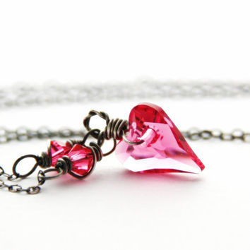 Pink Swarovski Heart Necklace Sterling Silver Rose Crystal Necklace Indian Pink Heart Antique Silver Jewelry October Birthstone Necklace