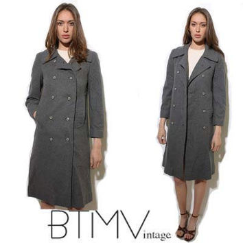 70s PENDLETON grey WOOL double breasted coat minimal by BTMVintage