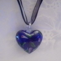 Heart Shaped Lampwork Glass Pendant Necklace ~ Fast Shipping ~ U.S.A. Seller