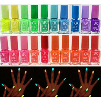 [flash 20 Candy Colors Glow The Dark Luminous Fluorescent Nail Art Polish Enamel = 5987986433