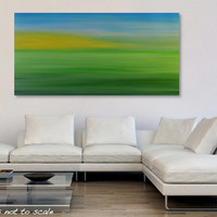 Large 48 x 24 Abstract Landscape Painting - Original Field Sunrise Horizon Acrylic Canvas Wall Art Decor - Light Green, Yellow, Blue - Long