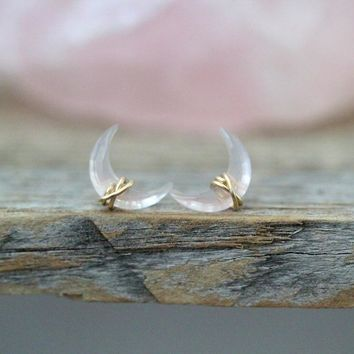 Moonbeam Studs - Rose Quartz
