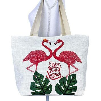 Two Flamingo Painted Tote Bag