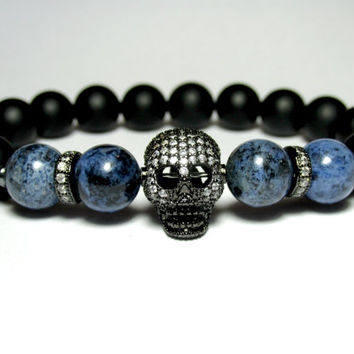 Mens Beaded Micro Pave Skull Bracelet, Sodalite and Onyx Bracelet, Gemstone Stretch Bracelet, Mens Skull Jewellery, Gift for Him