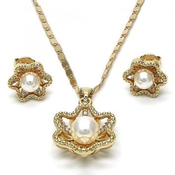 Gold Layered 10.156.0085 Earring and Pendant Adult Set, Flower and Ball Design, with Ivory Pearl and White Crystal, Polished Finish, Golden Tone