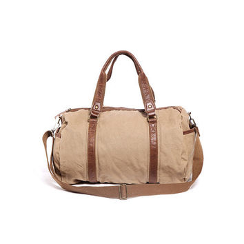"Sand Canvas Briefcase / leather canavs bag/ satchel/Messenger bag /14""  Laptop bag / Men's leather canvas Bag"