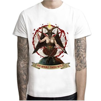 baphomet print casual tshirt mens o-neck t shirts fashion men's tops men T-shirt short sleeve men M7R1026