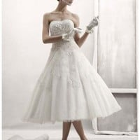 Buy Strapless Tulle Embellished Tea Length Gown Style CPK437  , from  for $139.24 only in Fashionwithme.com.