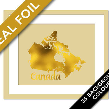 Canada Map - Gold Foil Print - Canada Map Art Print - Foil Map - Geography Poster - Travel Poster - Canada Wall Art - World Map Wall Decor
