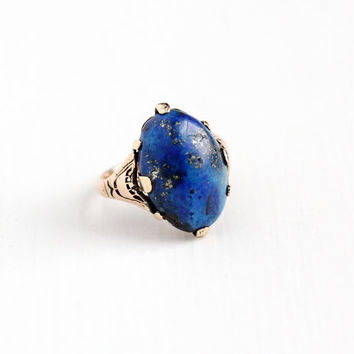 Antique Edwardian 14k Rose Gold Lapis Lazuli Gem Ring - Vintage 1910s Size 5 3/4 Dark Blue Oval Cabochon Gemstone Fine Statement Jewelry