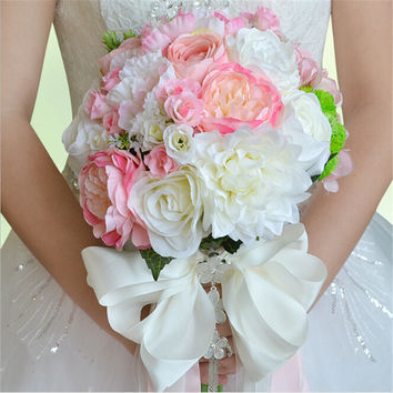 2017 New Arrival Beautiful Colorgul Bridal Bridesmaid Flower wedding bouquet artificial flower rose bridal bouquets