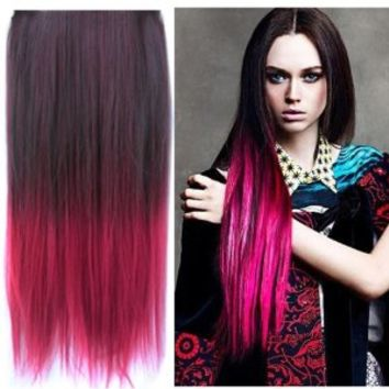 Uniwigs® Ombre Dip-dye Color Clip in Hair Extension 60cm Length Black to Red Straight for Fashion Women Tbe0023