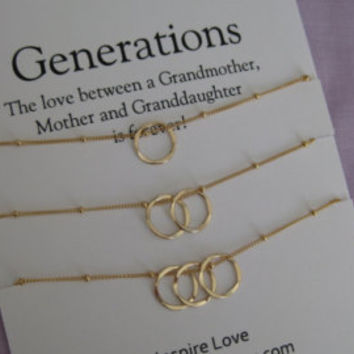 Generations Necklace. GRANDMOTHER Mother Daughter. 50th Birthday Gift for Her. Grandmother Granddaughter. 60th Birthday Grandmother Necklace