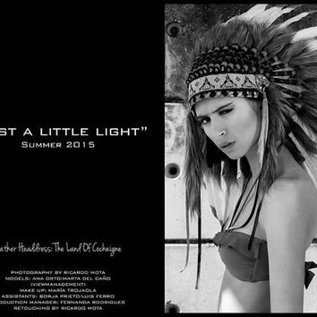 White small length Feather Headdress, Native American, Indian Warbonnet, Chief Indian Hat, Burning Man Headpiece