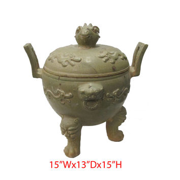 Unique Chinese Antique Clay Pottery Hand Made Ding Incense Burner
