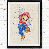 Super Mario Poster, Watercolor Print, Children's Room Wall Art, Minimalist Home Decor, Gift, Not Framed, Buy 2 Get 1 Free!