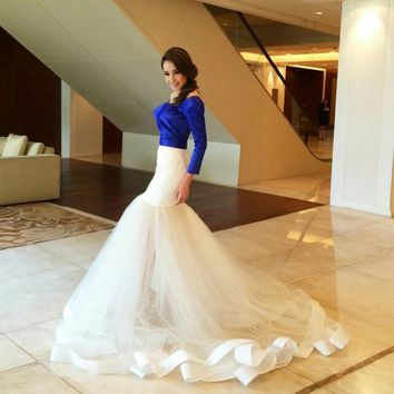 Gorgeous 2017 Chic Ruffles Organza Mermaid Long Skirts Sexy Floor Length Custom Made Skirt For Lady To Party Tiered Ruched