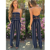 New fashion sexy off shoulder stripe knot leisure two piece