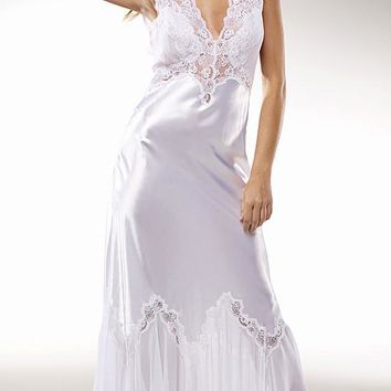 "Nightgown - ""Harlow"" Ivory Satin & Lace Bridal (Small-1X, 3X)"