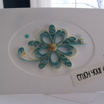handmade paper quilled all occasion or friendship greeting card – enjoy your day