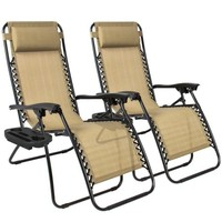 Zero Gravity Chairs Case Of (2) Tan Lounge Patio Chairs Outdoor Yard Beach New - Walmart.com