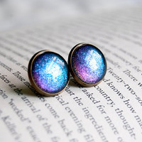 Dark Carnival - Color Shifting - Large Antiqued Brass Post Earrings