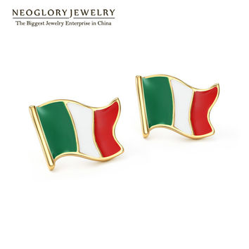 Neoglory Zinc Alloy Gold Plated Italy Flag Casual Sporty Stud Earrings for Men Casual Jewelry 2017 New Arrival CLE