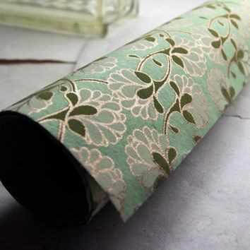 Green flower print handmade Wrapping Paper gift wrap set of two large sheets lime white brown gold