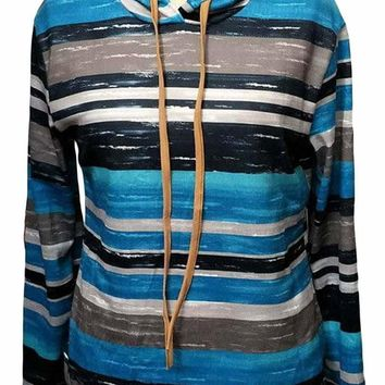 Blue Striped Drawstring Hoodie