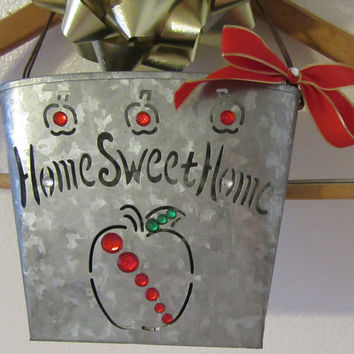 Tin Home Sweet Home Apple Hanging Basket With Red Bow and Lots of Bling