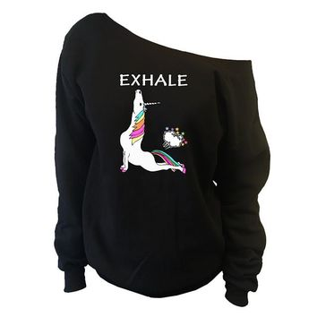 Unicorn Exhale Shirt Cobra Pose Off-The-Shoulder Oversized Slouchy Sweatshirt