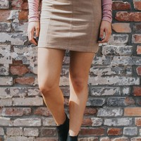 Raleigh Denim-Suede Skirt, Taupe