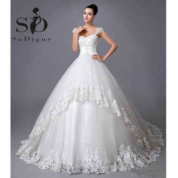 Wedding Dress Tulle Robe De Mariage Custom Made Bridal Hot Sale Royalty Beaded Cap Sleeve Lace Applique Bridal Gown