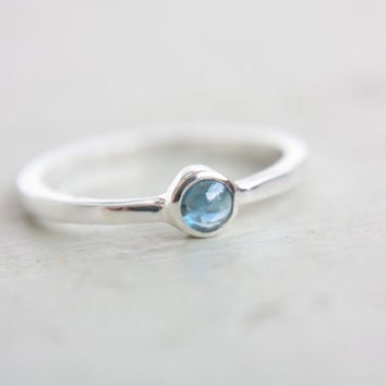 Blue Sapphire Ring Sapphire Engagement Ring Natural Sapphire Cabochon Dainty Ring September Birthstone Ring Sapphire Stacking Ring
